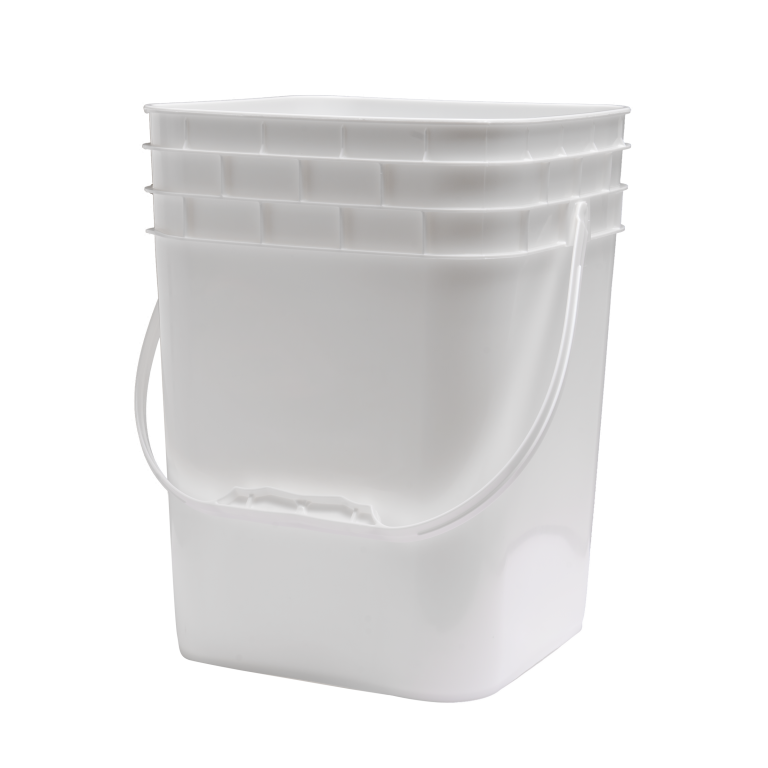 4 Gallon Pail Square White plastic handle
