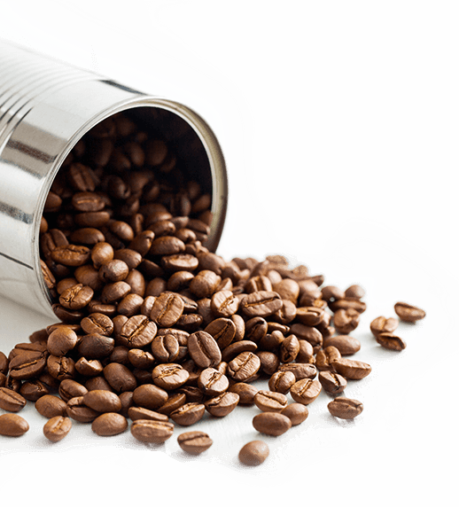 tin can with coffee beans